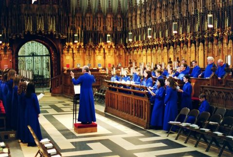 The choir at York Minster, UK, with decani on the left and cantores on the right