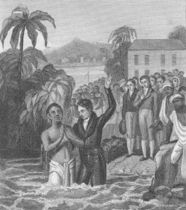 Carey baptising his first Indian convert, Krishna Pal