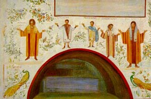 Christians worshiping, from the catacombs in Rome