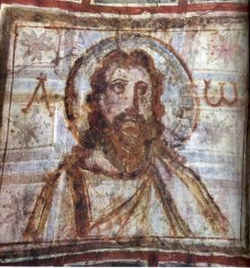An early representation of Jesus, from the catacombs in Rome
