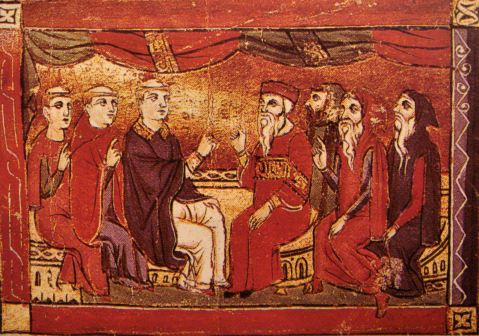 Mediaeval depiction of a debate between theologians