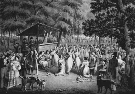 Contemporary print of Dow preaching