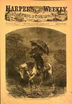 Contemporary cartoon of Dow on his travels