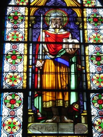 Gerald depicted as holding both the sword and the church