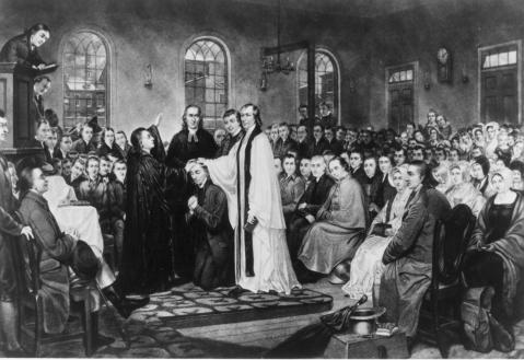 Thomas Coke ordains Francis Asbury as bishop of the American Methodists